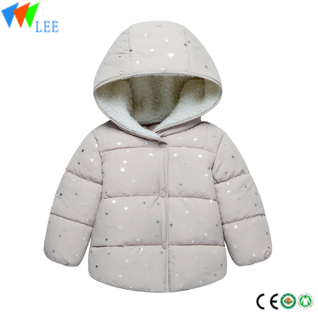 children winter custom baby boys outdoor down thicken prints with hoodie jacket