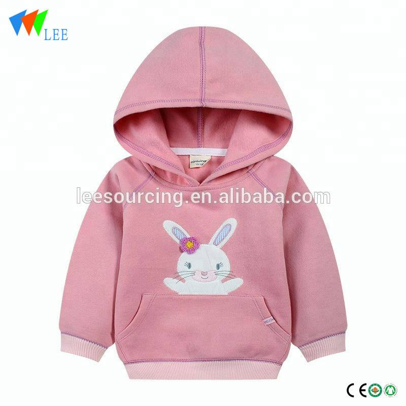 Pink color pocket rabbit pattern baby girls hooded sweatshirt