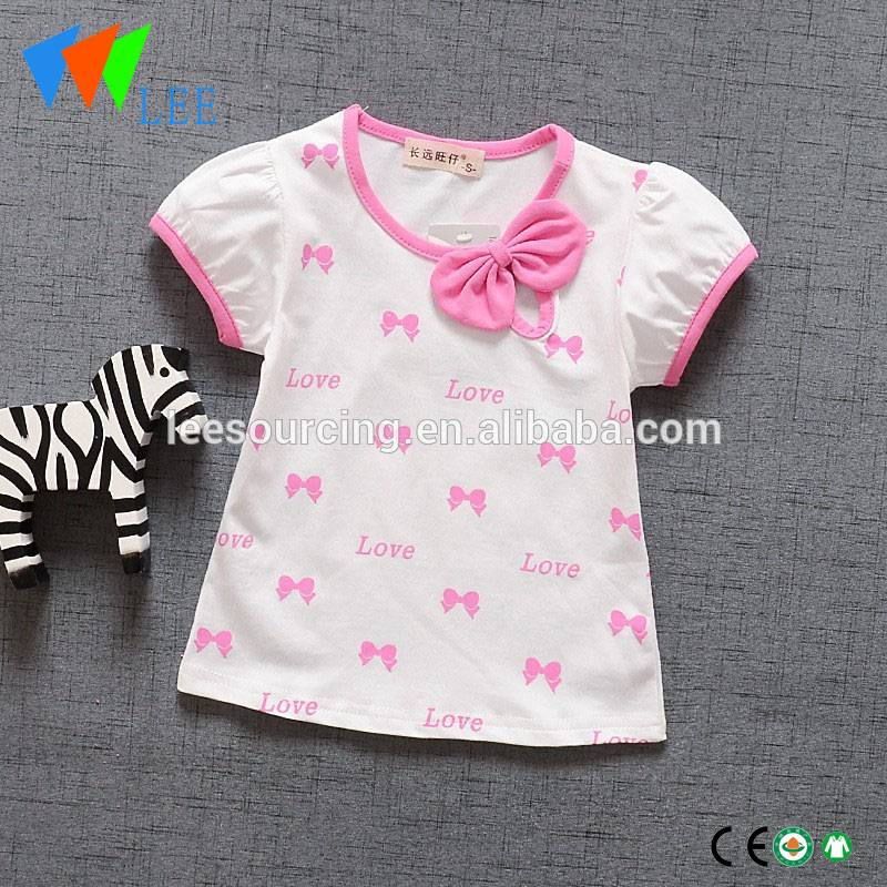 Wholesale summer cotton printing kids girl short sleeve t shirts