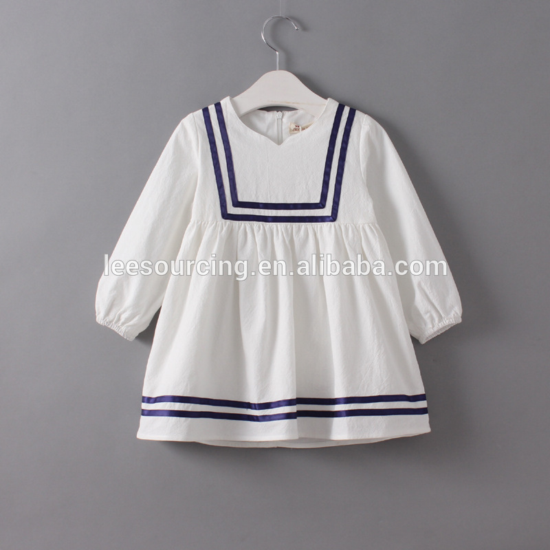 Spring navy style casual long sleeve children girl baby dress long one piece dress