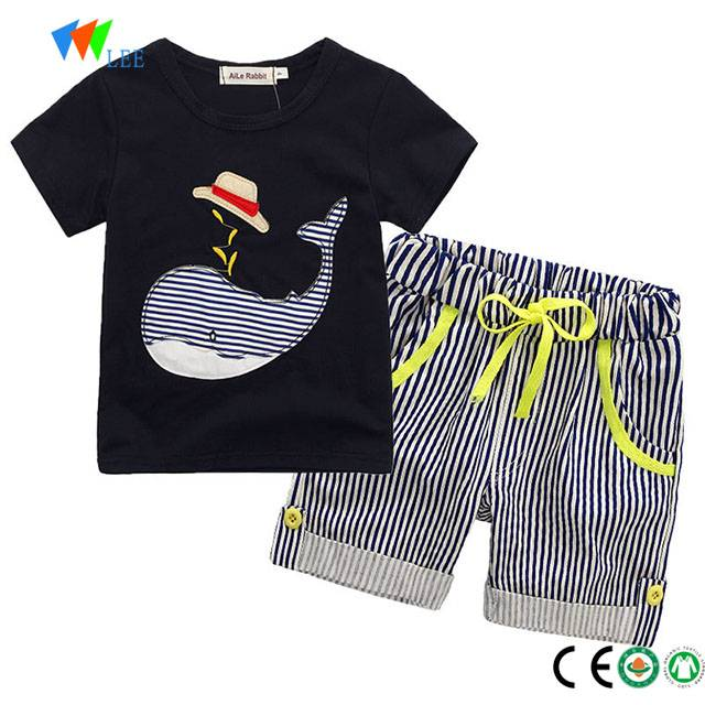 new design wholesale 100% cotton baby clothes clothing set