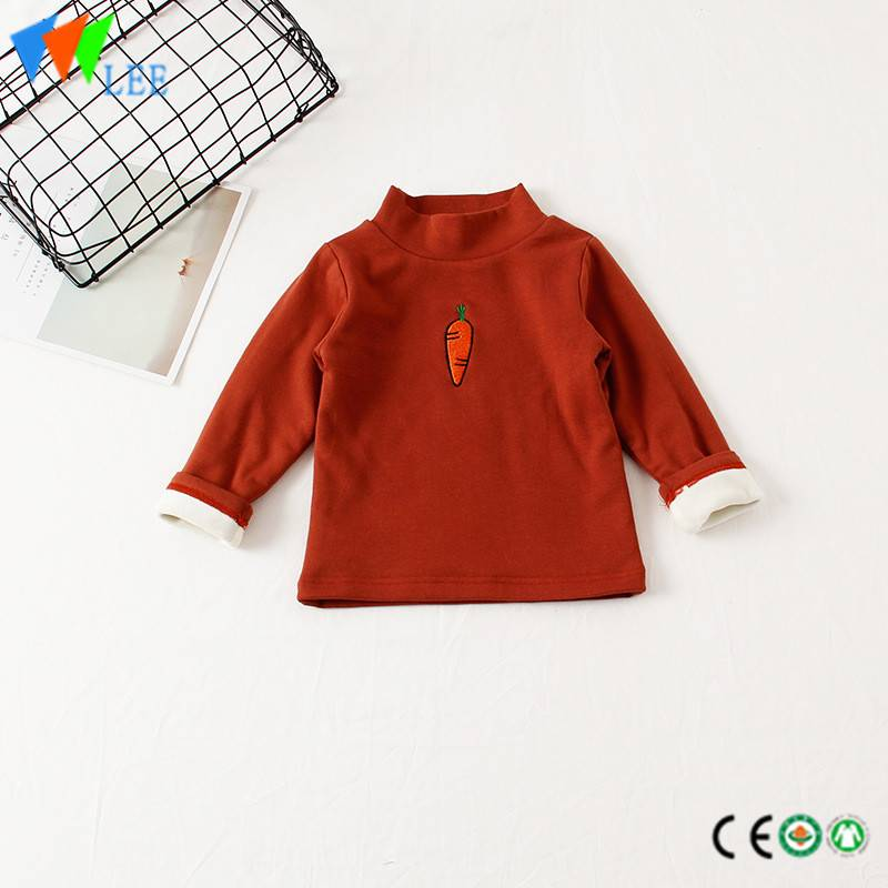 100% cotton kids long sleeve t shirt fleece round collar embroidered cute