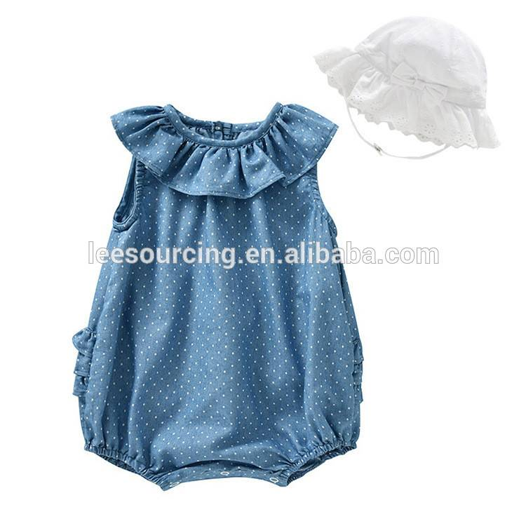 Wholesale baby girl jean ruffle bodysuit toddler polka dot high quality romper
