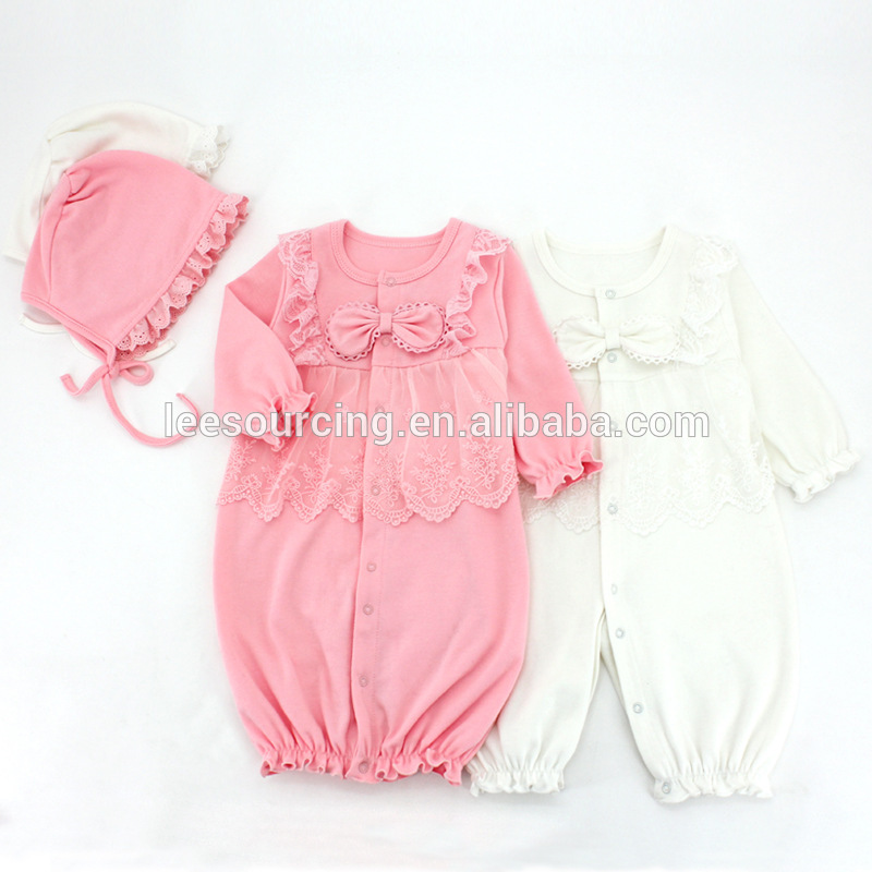 Cute baby girl onesie 100% cotton ruffle harem romper 2 pieces set lace romper