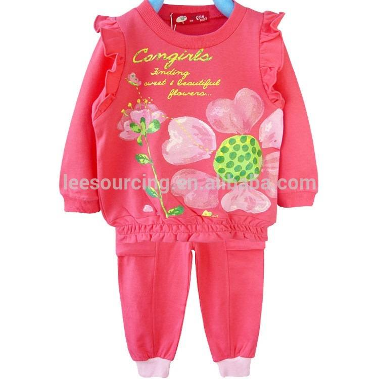 Hot sale pink long sleeve ruffle sports children clothes girls 2 pcs set