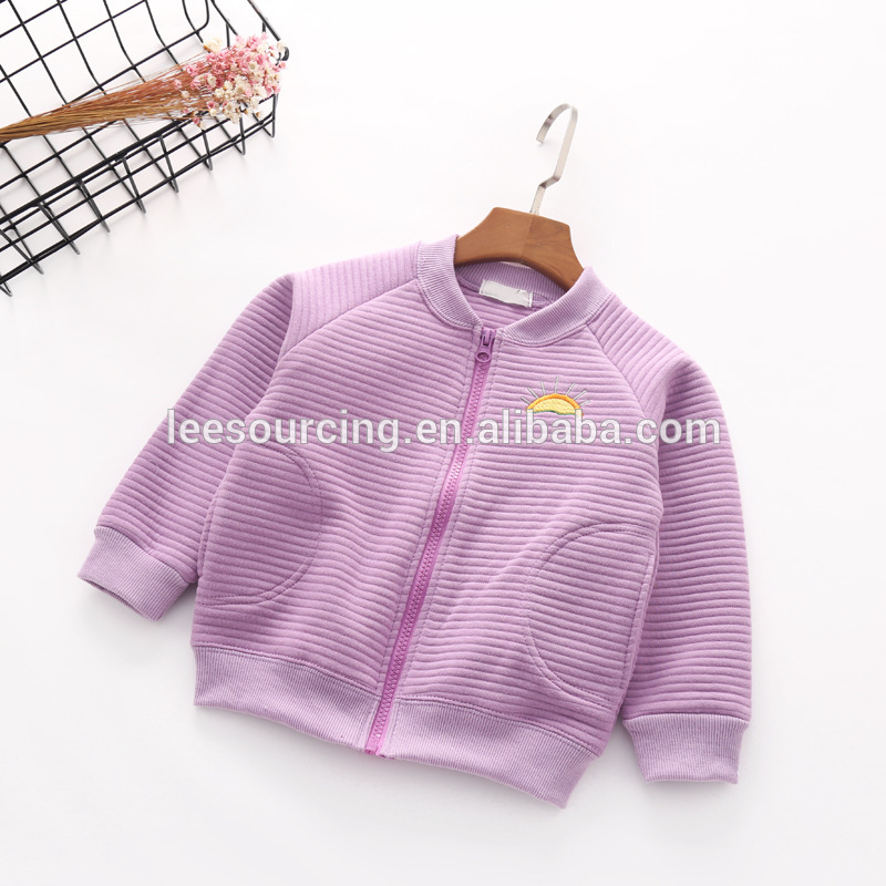 Spring solid color embroidery cotton wholesale girls jacket
