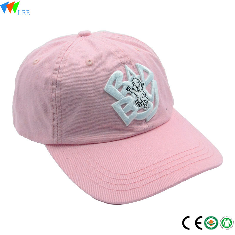 Promotion Cheap Customized pink 3 d embroidered logo baseball cap