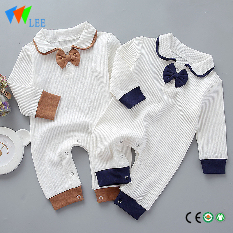 100% cotton comfortable solid baby romper long sleeve with bow-tie rompers