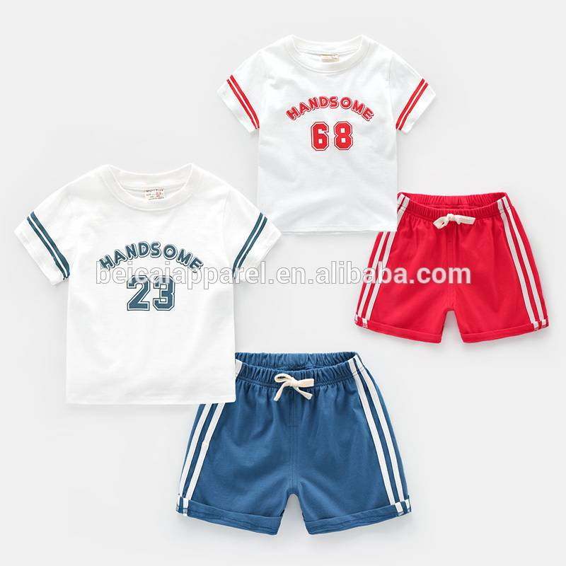 Factory Price Summer Baby Boy T-shirts and Pants Set 2 Pieces Kids Clothing Set