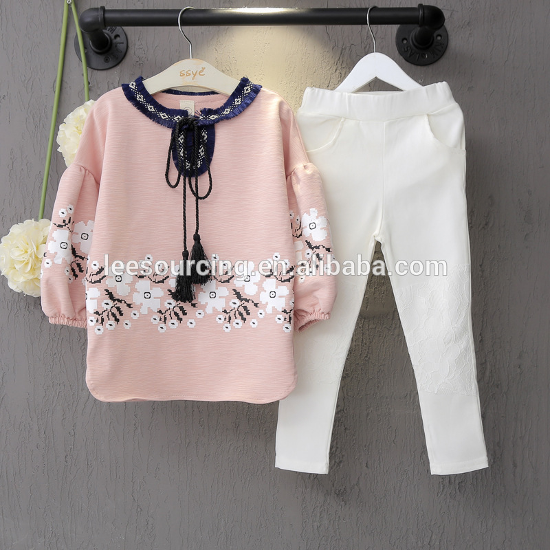 Wholesale children's boutique clothing baby girl lace pants and ruffle tops set Featured Image