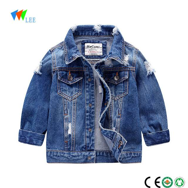 2018 wholesale new design high quality denim jacket for boys kids