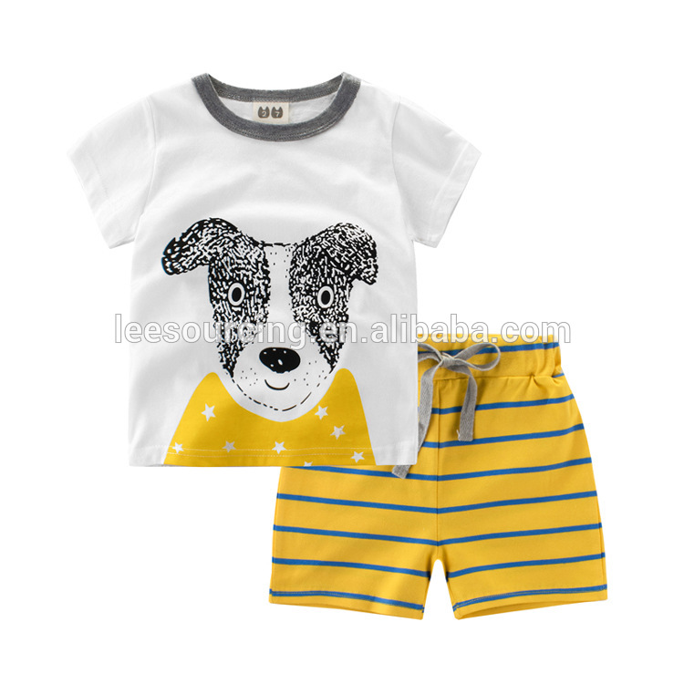 Wholesale short sleeves kids clothes baby boy summer casual style clothing set