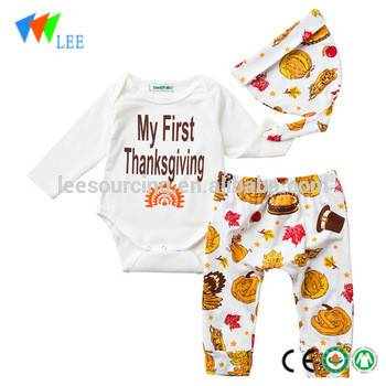 New Born Cotton 2 Pcs Set Thanksgiving Rompers Baby Clothes