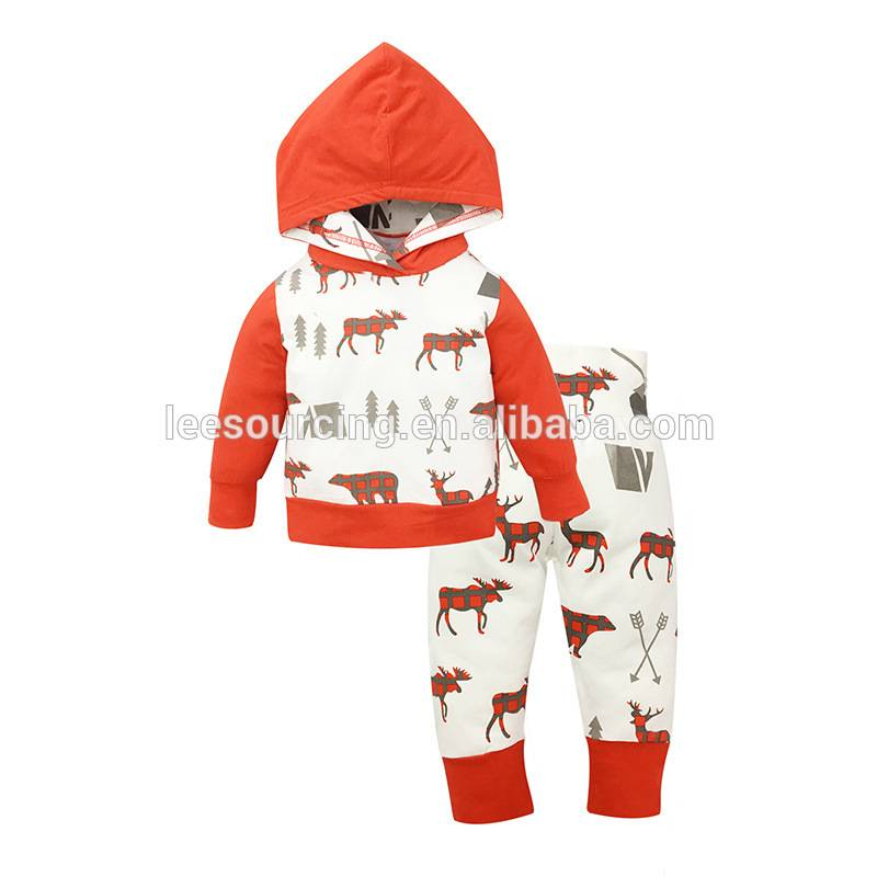 Baby Christmas Clothes Cotton Clothing Set Deer Pattern Long Sleeve Hooded Sweatshirt With Pants