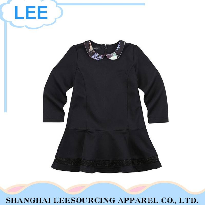 Wholesale Black Long Sleeve Children Poplin Cotton Dress