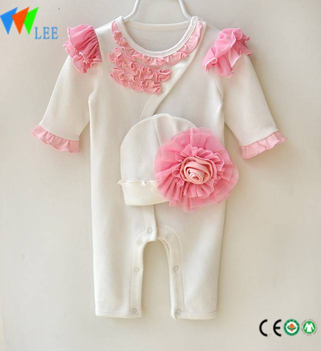 Bamboo cotton elastic comfortable baby girl lace long sleeve romper