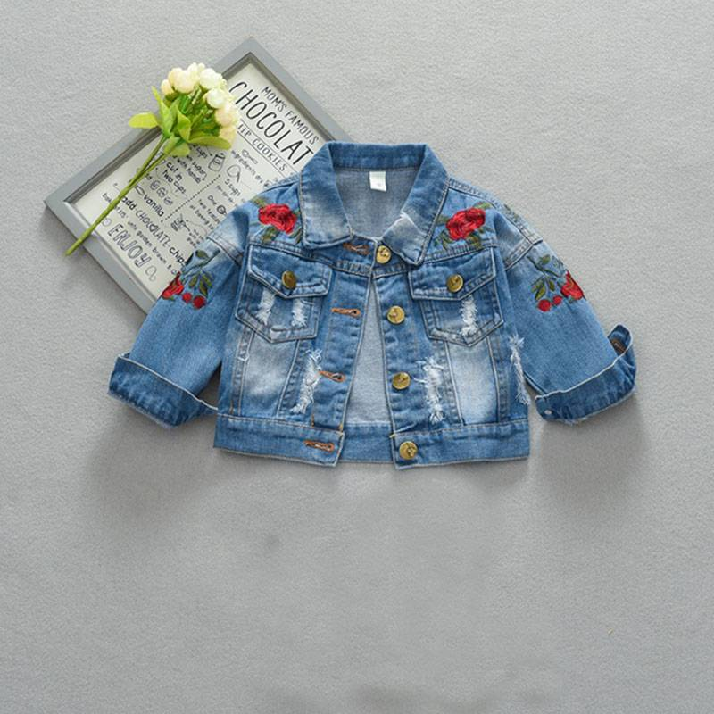 wholesale sabon zane Denim jacket ga jariri girlskids