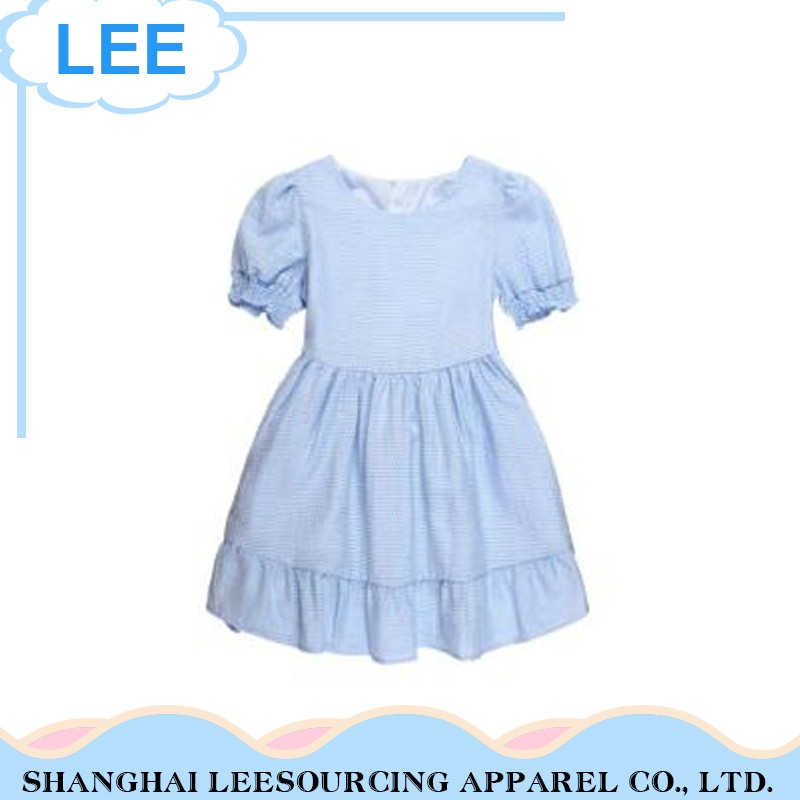 Private Label Soft Material Blue Baby Girls Big Checked Dress