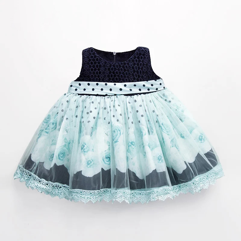 Latest Design Breathable Blue Baby Girl Vest Ruffle Dress