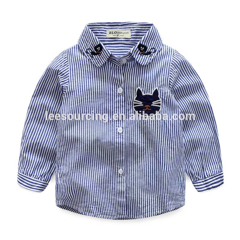 New design Western style boutique baby clothes boys long sleeve embroidery cat shirts children tops wholesale