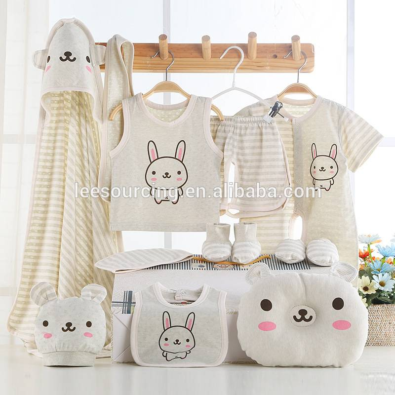 Summer newborn baby organic cotton soft clothes infant gift set manufacture