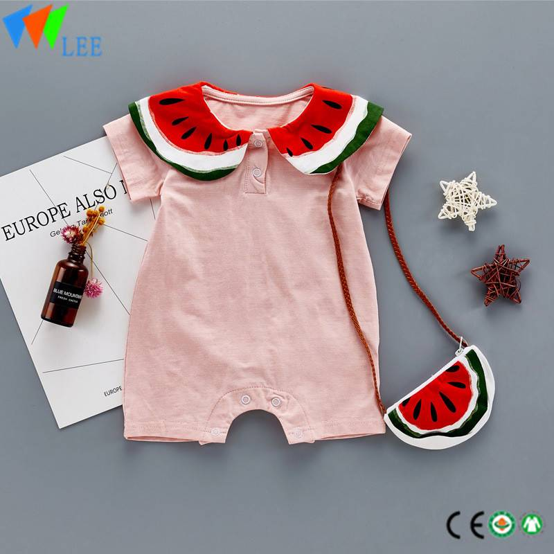 100% cotton O/neck baby short sleeve romper high quality blank with watermelon collar