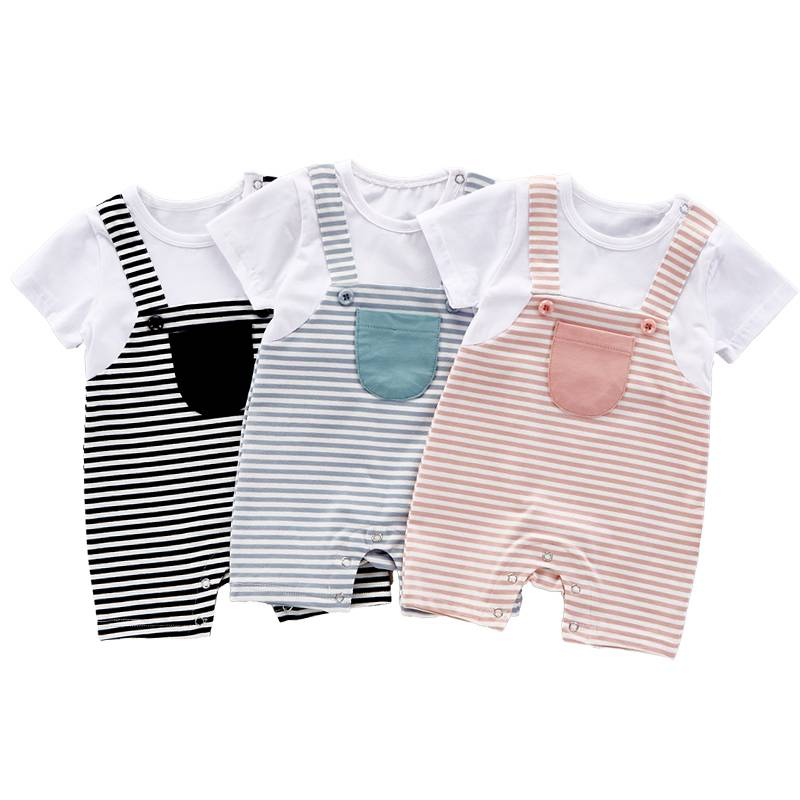 2017 top baby products bodysuit baby bamboo stripes kids cotton boy romper