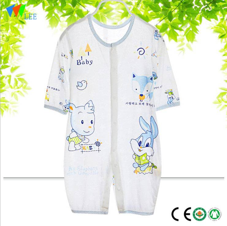 Long sleeve customized printed high quality baby organic bamboo romper