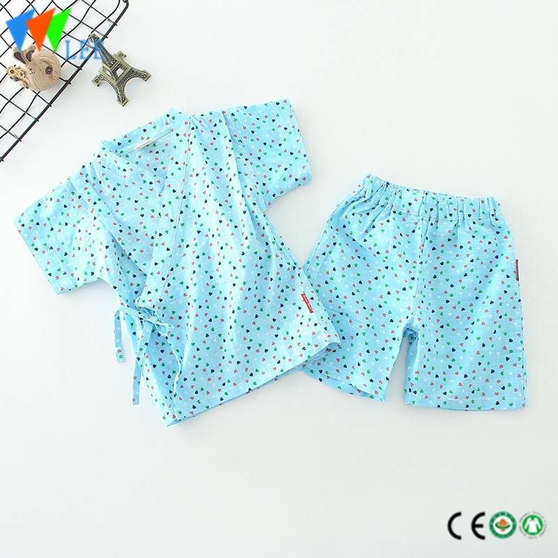 children baby boy clothes set summer short sleeve and shorts cotton flax kimono printed heart