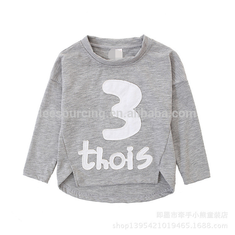 100% Cotton long sleeve letter printed t shirt custom children boy tops Featured Image