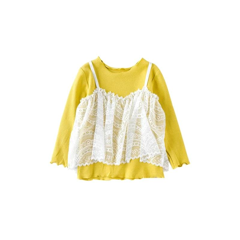 Latest Designs Baby Clothes Children Shirts Wholesale Plain Yellow Cotton Girls Lace Tops for Kids