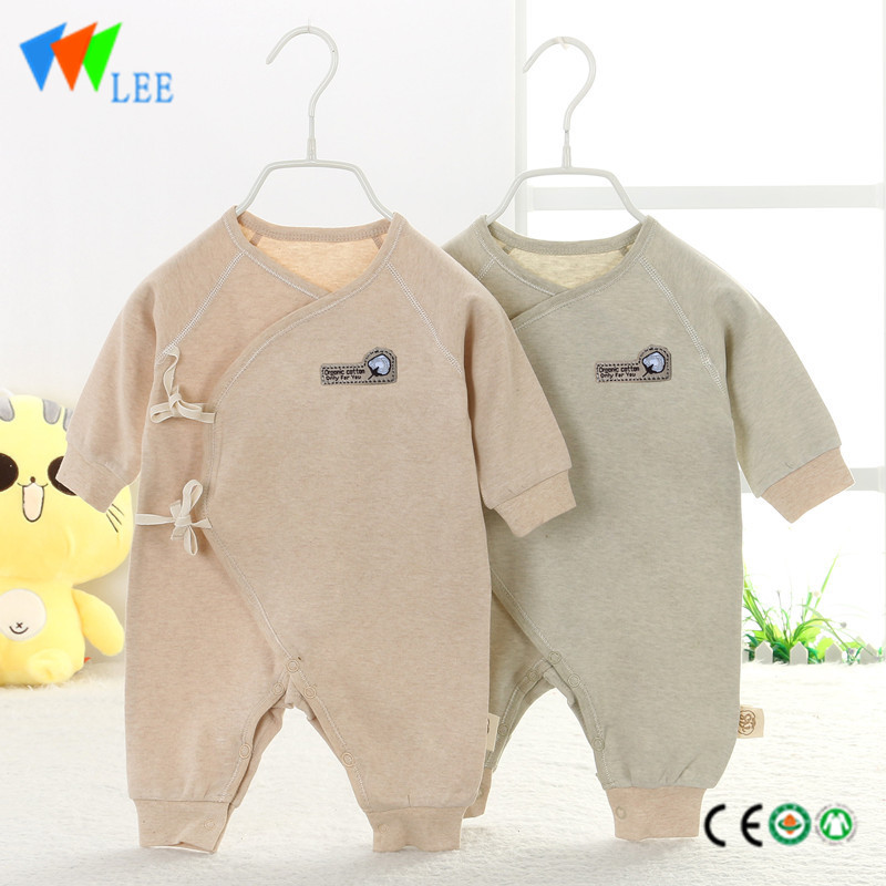 organic cotton pure elastic comfortable Lovely long sleeve round collar baby romper