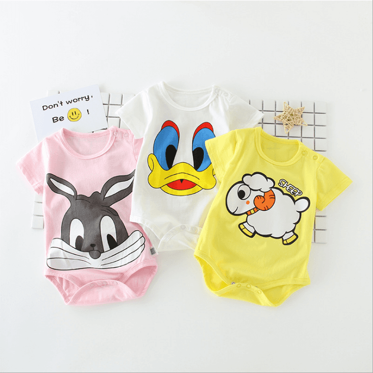 New Popular Short Sleeve Summer Comfortable Cartoon Printed Baby Bamboo Romper