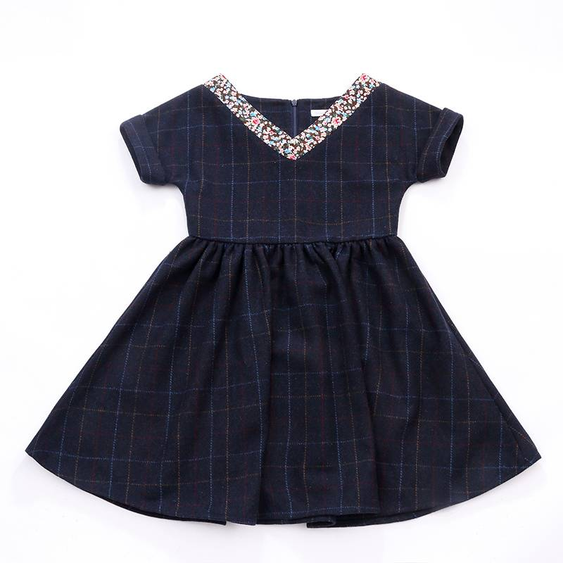 Fashion Cotton infants clothes baby girls Plaid Skirt Children maxi Dress
