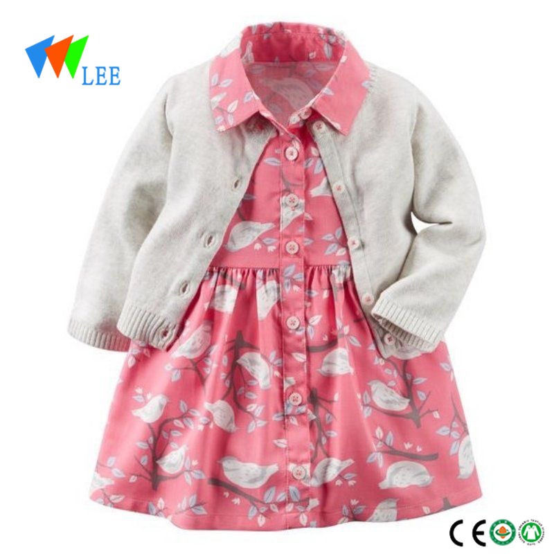 Wholesale girl fall winter dress and sweatshirt 2 pcs baby clothing sets