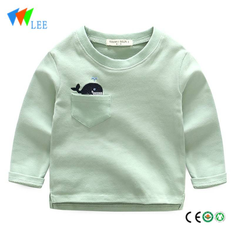new high-quality 100% cotton kids long sleeve t shirt round collar embroidered