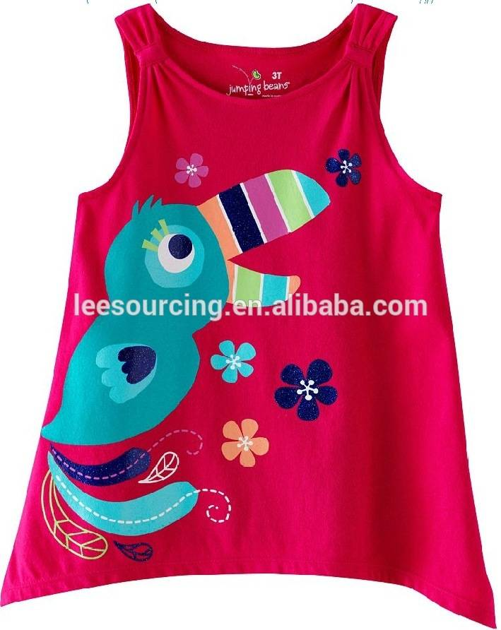 100% cotton fashion printing sleeveless girls vest kids t shirt