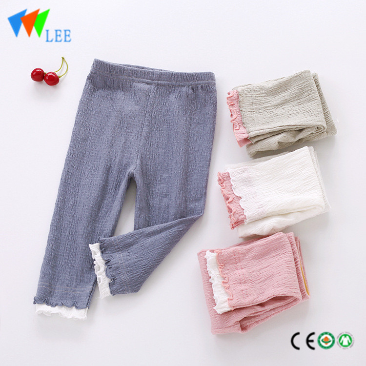 100% cottonbaby girl leggings wholesale pure-color with lace