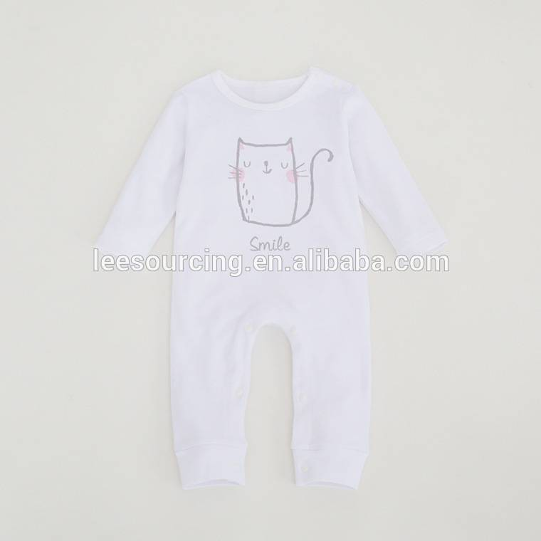 Wholesale bamboo long sleeve baby bodysuit white rompers