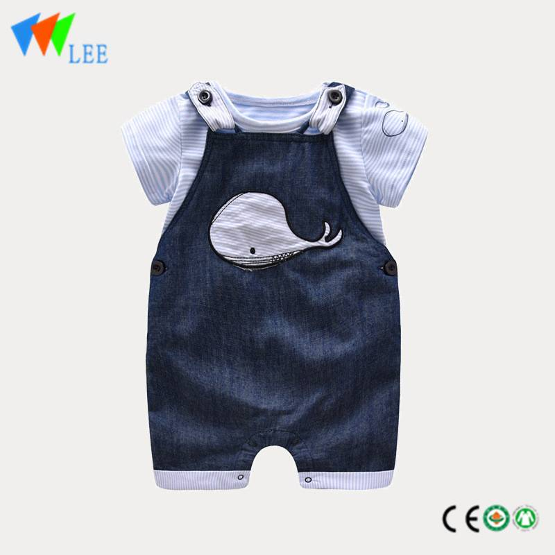 summer baby boys pantsuit striped short t shirt sleeve cartoon and overalls wholesale children clothing sets