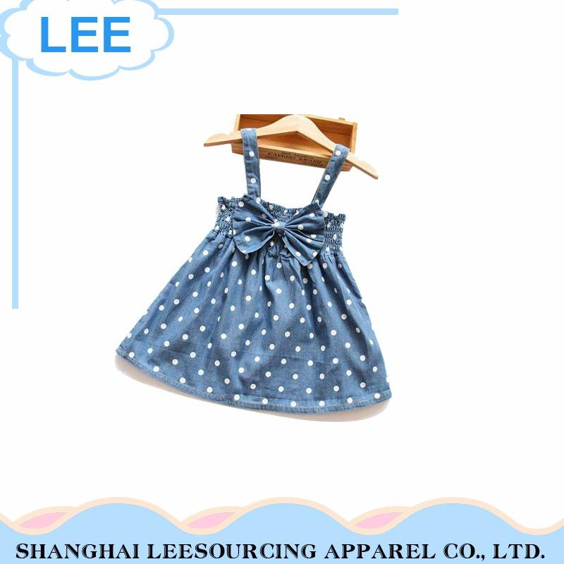 Logo Custom Comfortable Fabric Blue Latest Children Dress