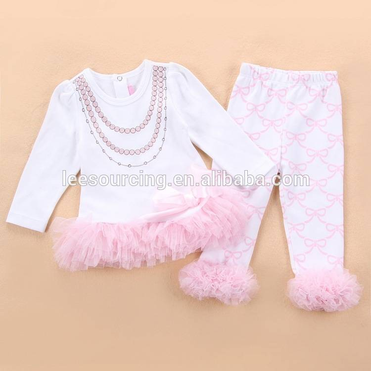 top ruffle Wholesale û pants zarokên girl 2pcs danîn