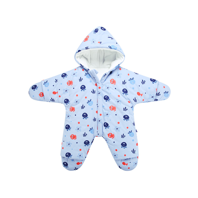 Wholesale winter newborn baby clothes soft cotton long sleeve toddler baby romper with foot