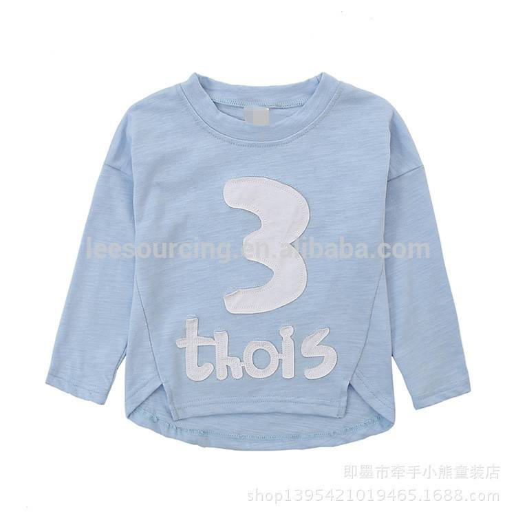 100% Cotton long sleeve letter printed t shirt custom children boy tops