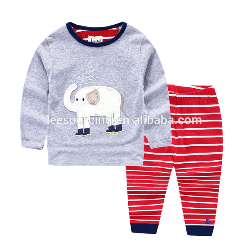 Wholesale spring style cute pattern boys pajamas children clothes set