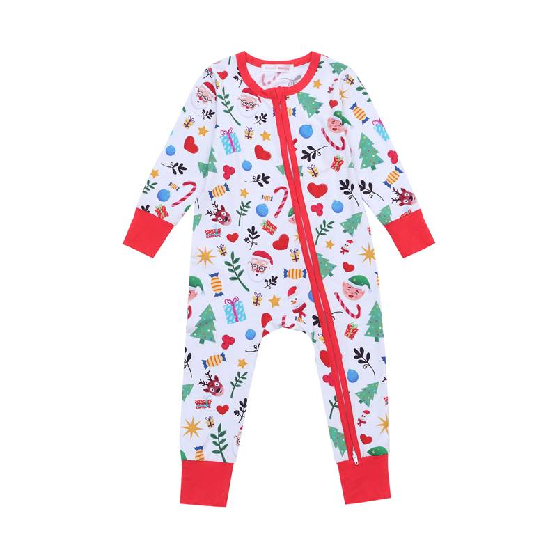 Wholesale baby bamboo fiber clothing romper onesiezipper bodysuit with digital printing