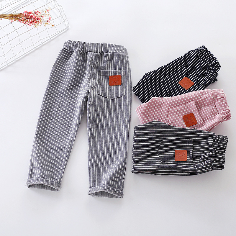 Wholesale striped baby harem pants kids linen leggings