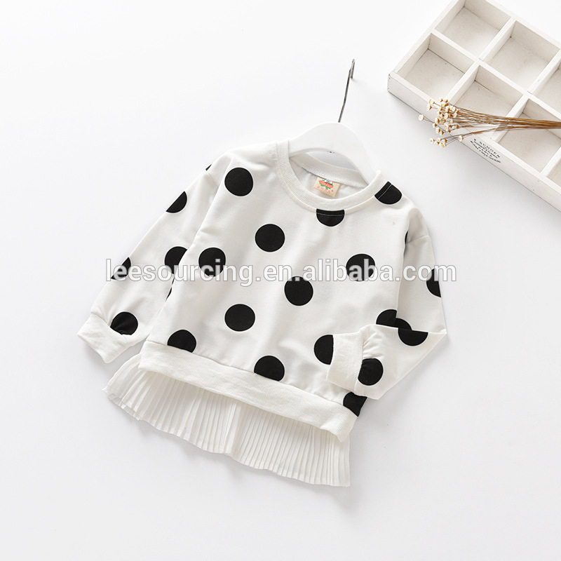 Wholesale full polka dot kids girl long sleeves t-shirts girls clothing