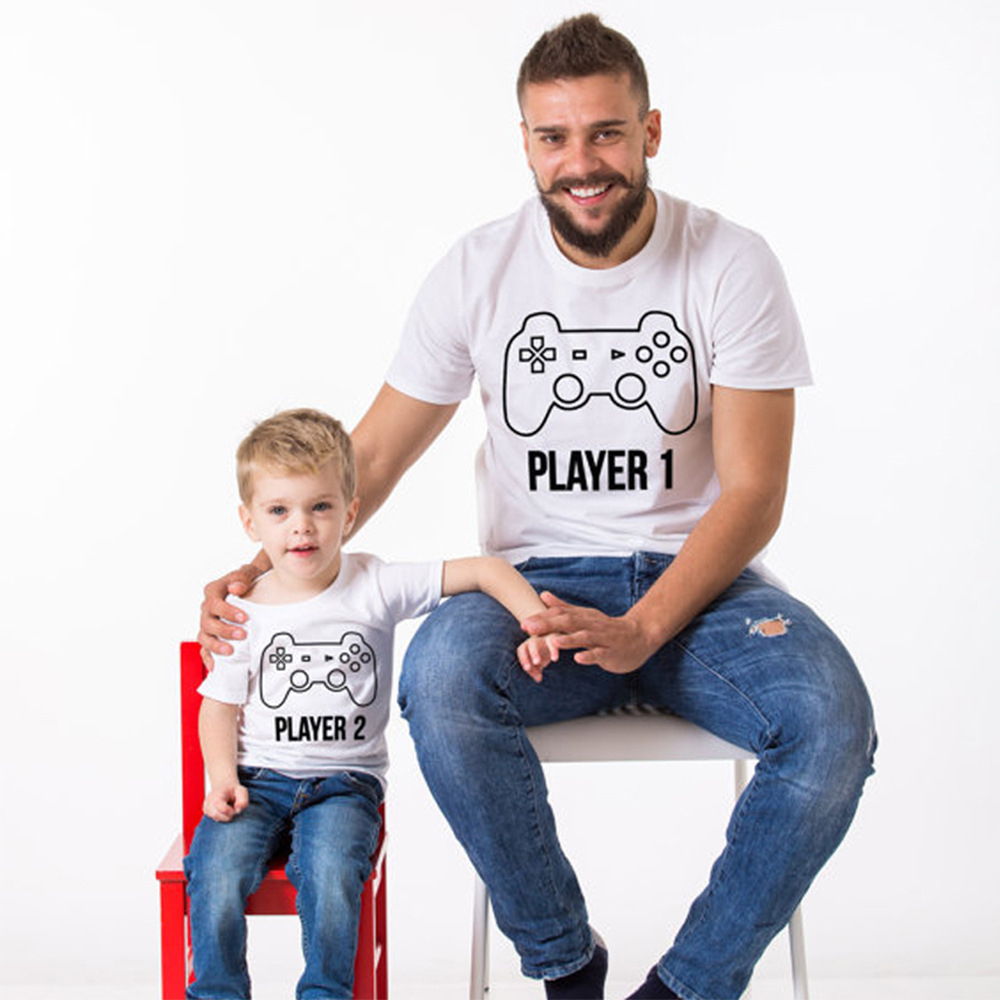 boy cute cotton t shirt parent-child clothing family matching outfits