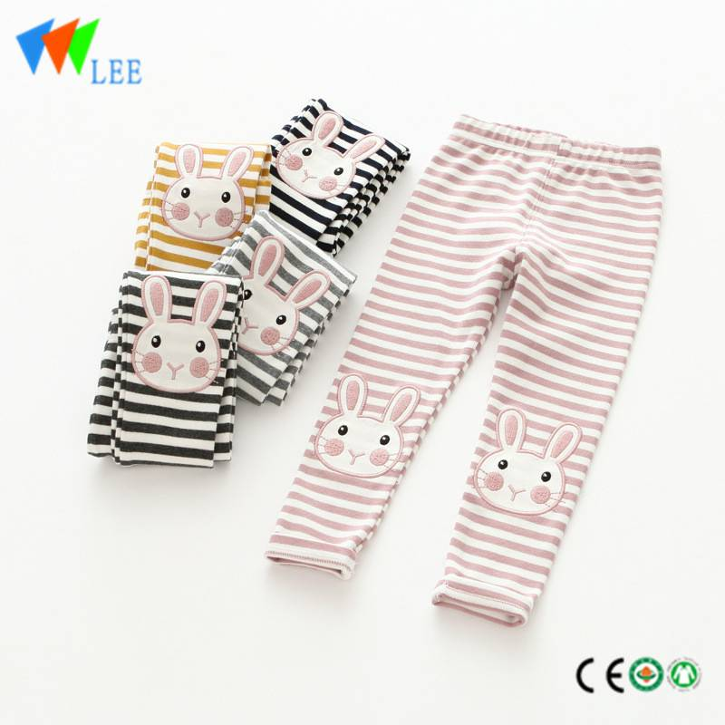 100% cotton baby girl leggings wholesale stripe embroidered rabbit lovely